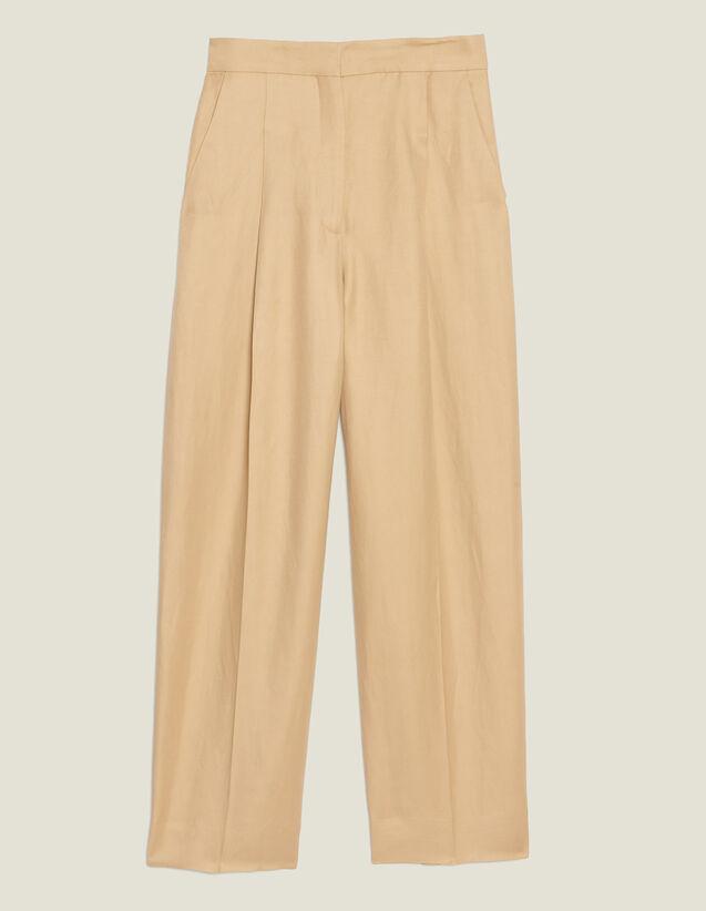 Pantalón Ancho Con Pinzas : Pantalones color Beige