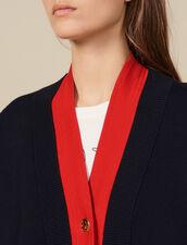 Cárdigan bicolor con efecto superpuesto : Jerseys & Cárdigans color Marino