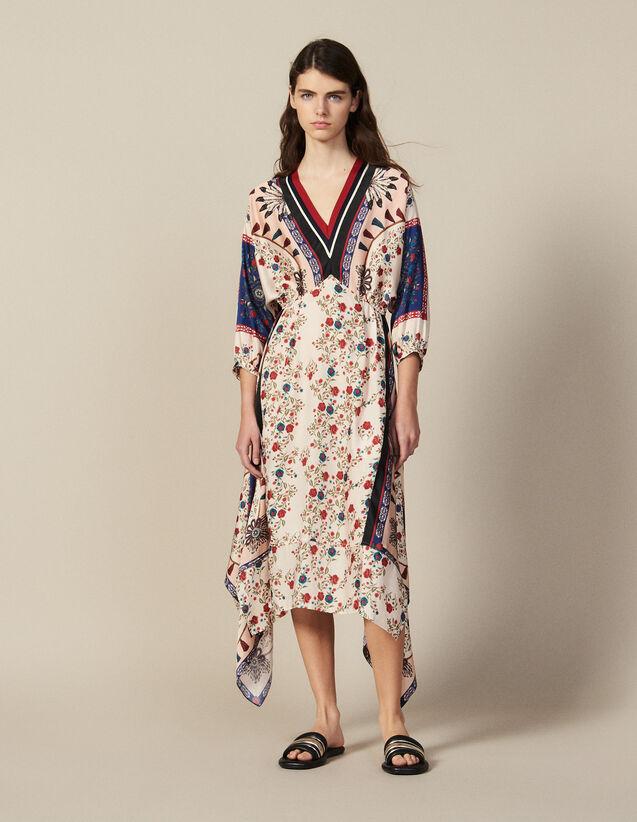 Vestido Asimétrico Estampado Adornado : Vestidos color Multicolor