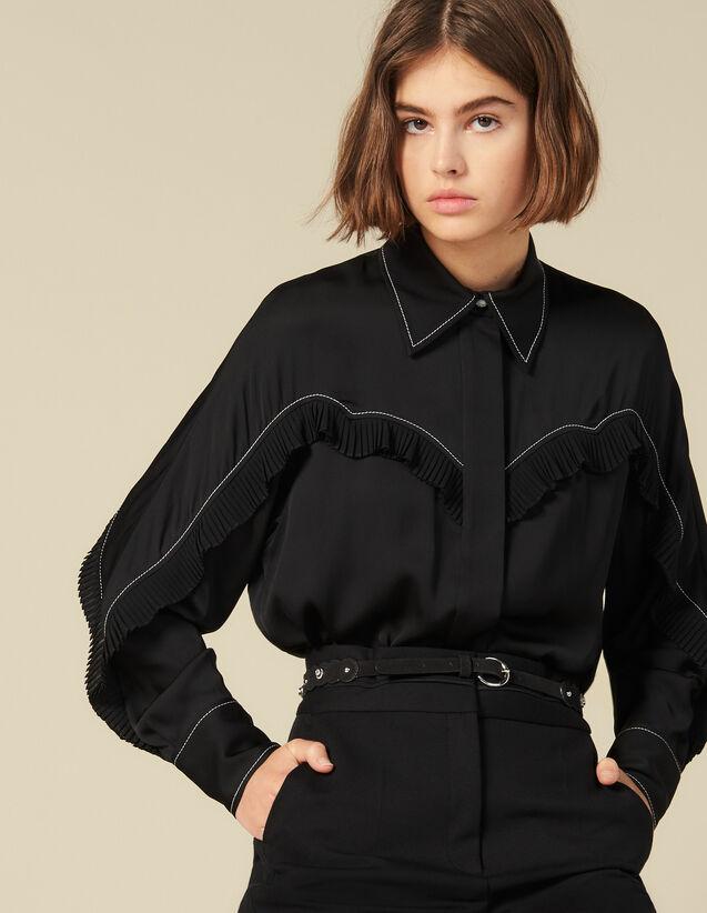 Camisa Con Cortes Estilo Wéstern : -40% color Negro