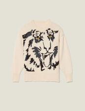 Jersey, cuello redondo, jacquard tigre : FBlackFriday-FR-FSelection-30 color Crudo