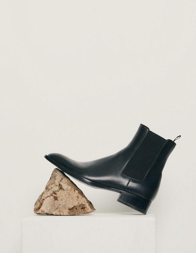 Chelsea de piel lisa : Colección de Invierno color Negro