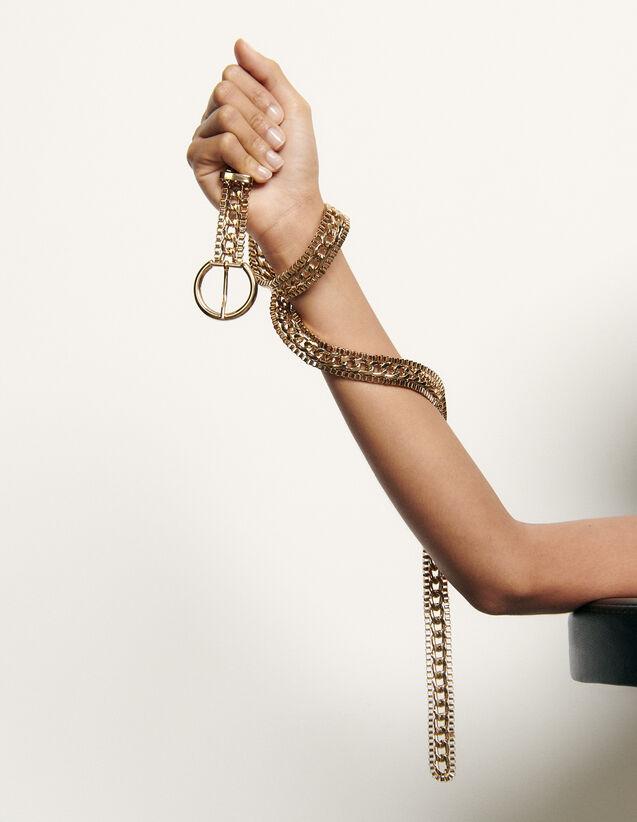 Cinturón de cadena con hebilla redonda : Cinturones color Oro