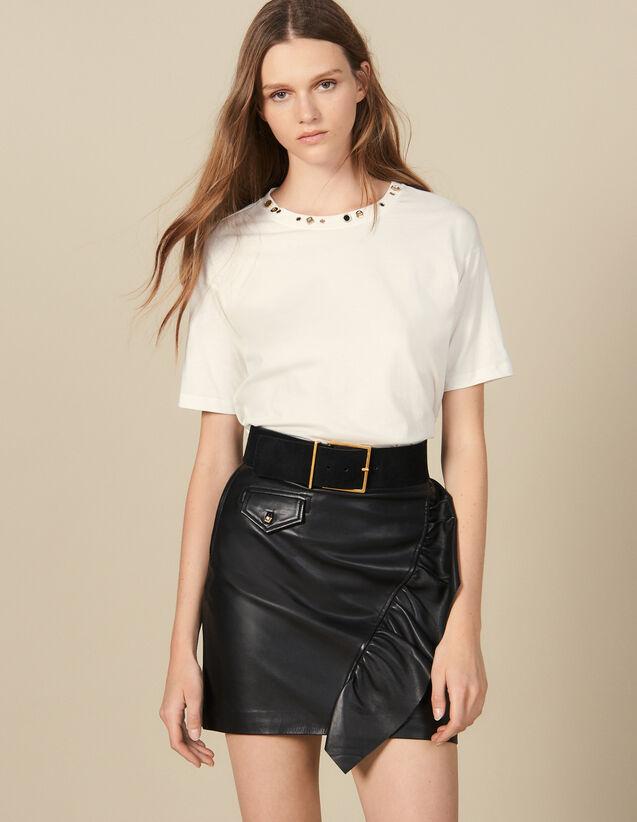 Falda Corta De Piel Con Volante : Faldas & Shorts color Negro