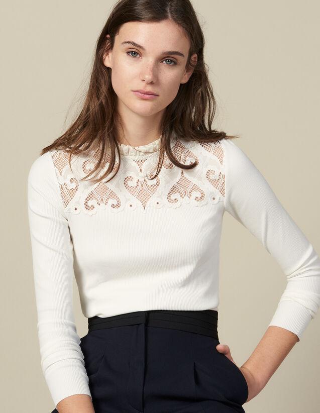 Camiseta De Popelina Con Inserto : -40% color Crudo