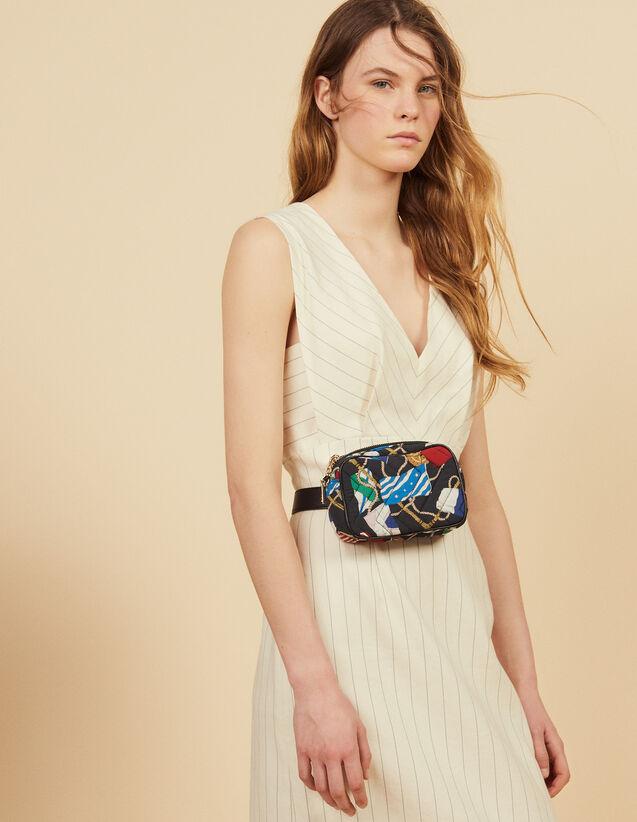Vestido Midi Estructurado De Rayas Finas : Vestidos color Blanco
