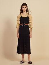 Vestido Largo De Punto Y Croché : null color Negro