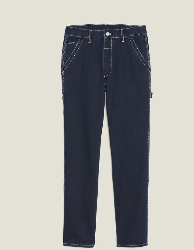 Pantalón De Denim Con Pespuntes : Vaqueros color Blue Night - Denim
