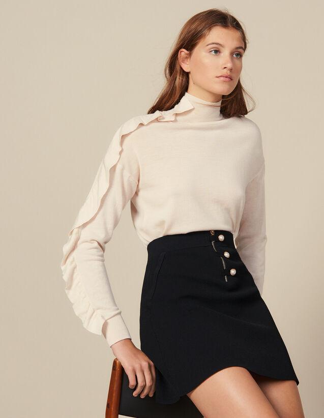 Falda Corta Trapecio De Punto : Faldas & Shorts color Negro