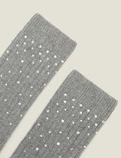 Calcetines adornados con estrás : Toda la colección de Invierno color Gris Oscuro