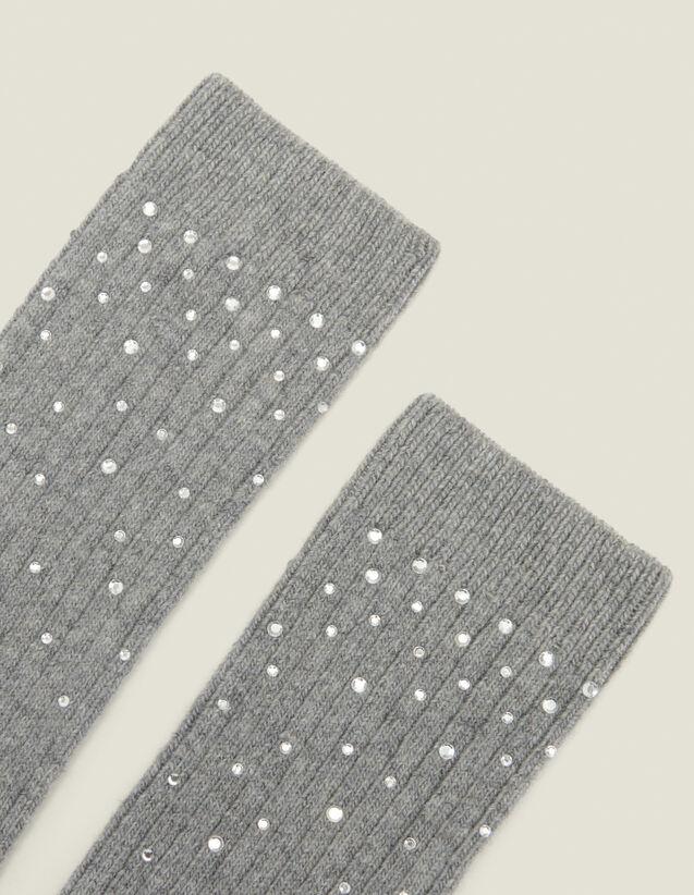 Calcetines adornados con estrás : Calcetines color Gris Oscuro