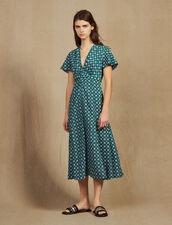 Vestido Fluido Estampado De Manga Corta : null color Verde