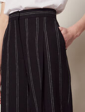 Pantalón Con Pinzas De Rayas A Juego : null color Negro