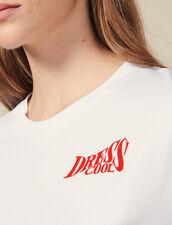 Camiseta De Algodón Con Mensaje : Novedades color Blanco