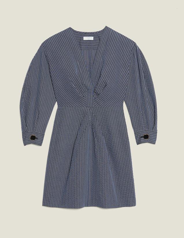 Vestido Corto De Rayas Finas : null color Azul