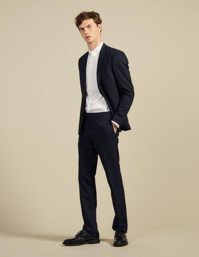 Pantalón de traje clásico de lana : Trajes & Smokings color Marino