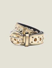 Cinturón, hebilla redonda y ojales : Toda la colección de Invierno color Oro