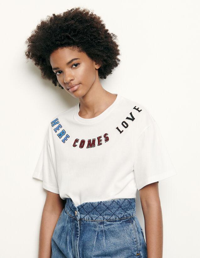 Camiseta con parche con mensaje : Nueva Colección de Verano color Blanco