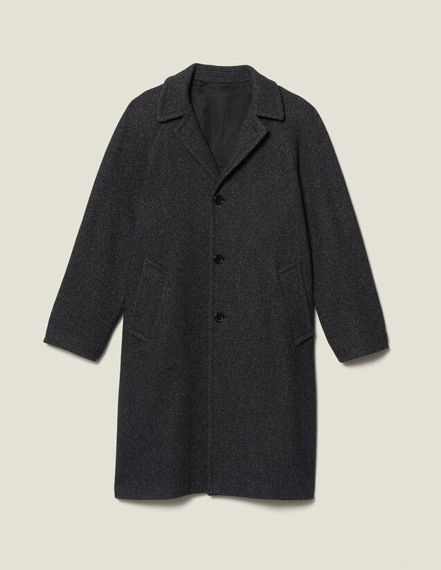 Abrigo largo de lana : Trenchs & Abrigos color Gris Moteado