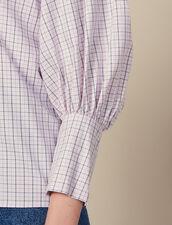 Camisa De Popelina De Cuadros Pequeños : SOLDES-RE-F-30 color Rosa