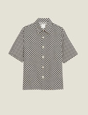 Camisa Manga Corta Damera Tejido Japonés : Colección de Verano color Negro