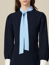 Vestido corto texturado, cuello con lazo : Vestidos color Marino