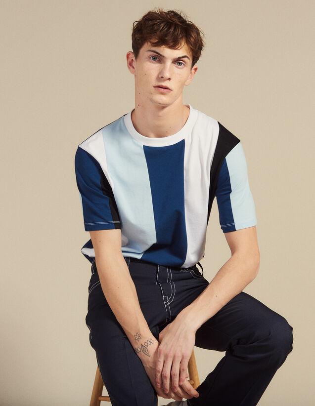 Camiseta De Rayas Anchas : Camisetas & Polos color Azul