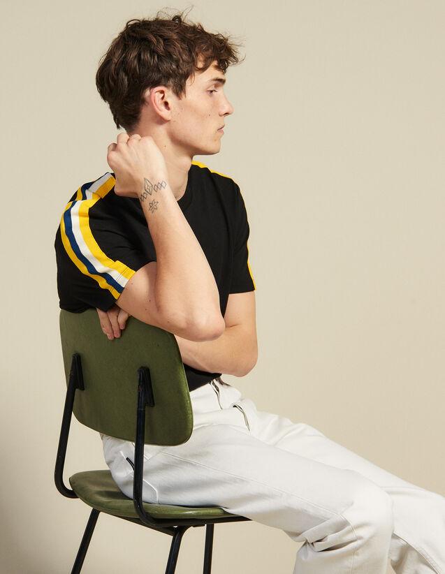 Camiseta Con Pasamano Gráfico : Camisetas & Polos color Negro