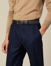 Cinturón De Piel Graneada : Colección de Invierno color Marron