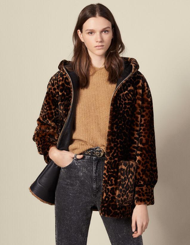 Abrigo de piel lanuda estampada : Abrigos color Leopardo