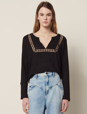 Camiseta De Lino Con Cuello Tunecino : null color Negro