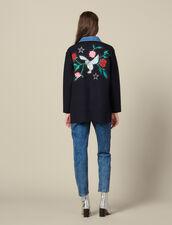 Cárdigan bordado, cuello de tela vaquera : Jerseys & Cárdigans color Marino