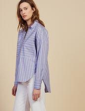 Camisa De Algodón Con Juego De Rayas : Camisa estampada color Azul