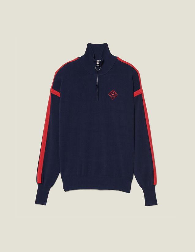 Jersey de cuello con cremallera : SOLDES-DE-FSelection-PAP&ACCESS color Marino