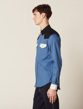 Camisa Wéstern Con Bloques De Colores : SOLDES-CH-HSelection-PAP&ACCESS-2DEM color Azul
