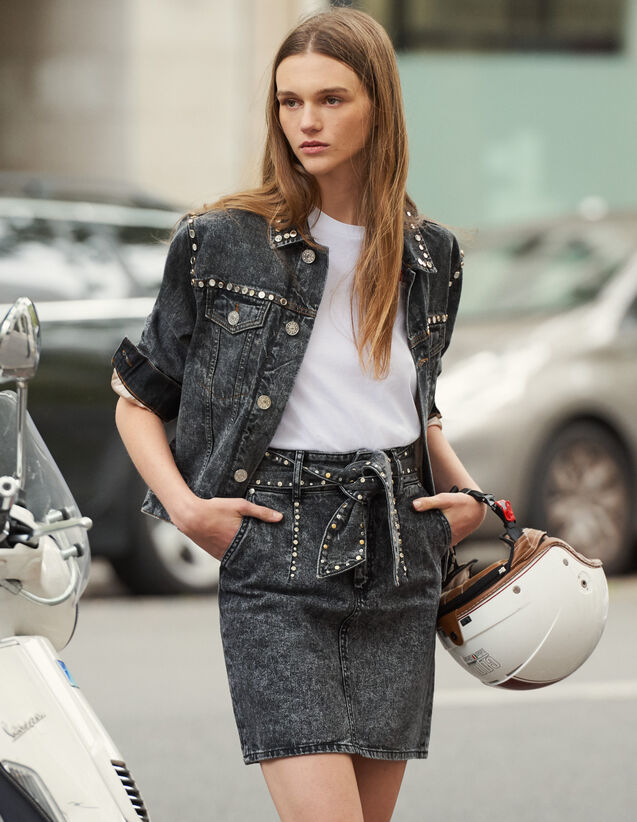 Falda De Talle Alto Con Cinturón : Faldas & Shorts color Negro