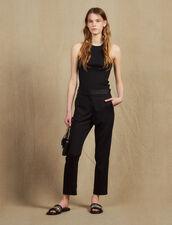 Pantalón con insertos de satén : Pantalones color Negro