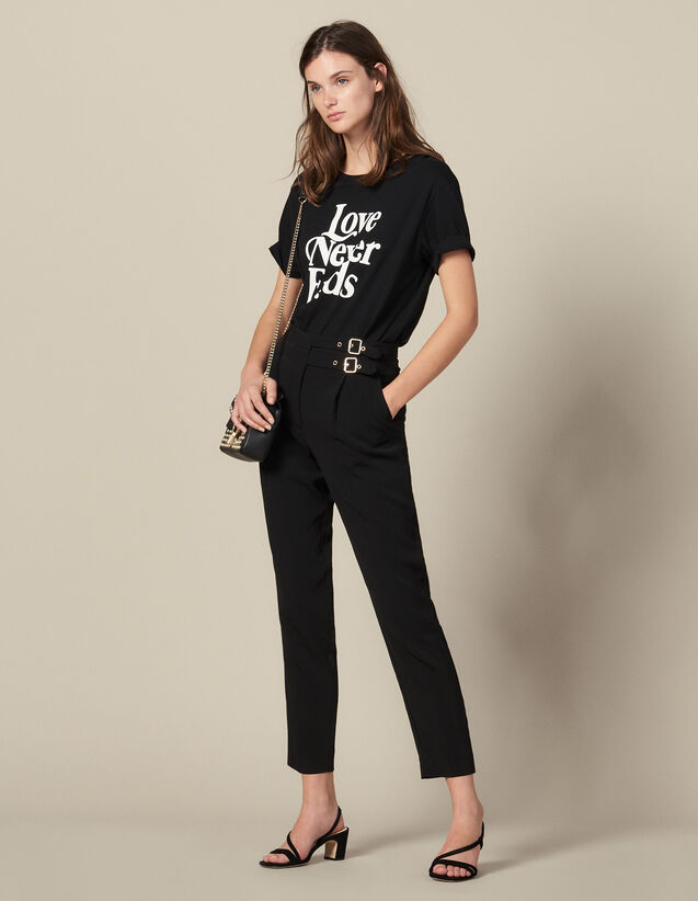 Pantalón de talle alto con hebillas : -40% color Negro