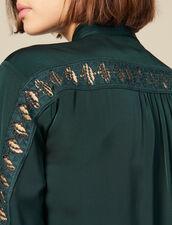 Camisa Con Inserto De Encaje : SOLDES-DE-FSelection-PAP&ACCESS color Verde