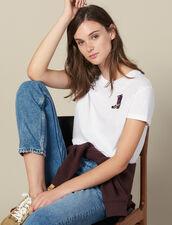 Camiseta Con Parche Bordado : -50% color Blanco
