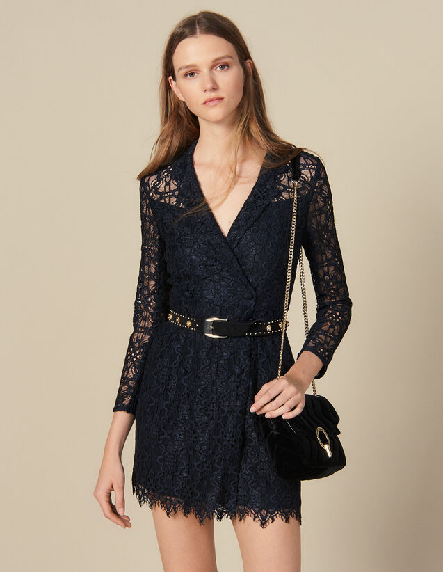 Vestido Abrigo De Encaje : Vestidos color Marino
