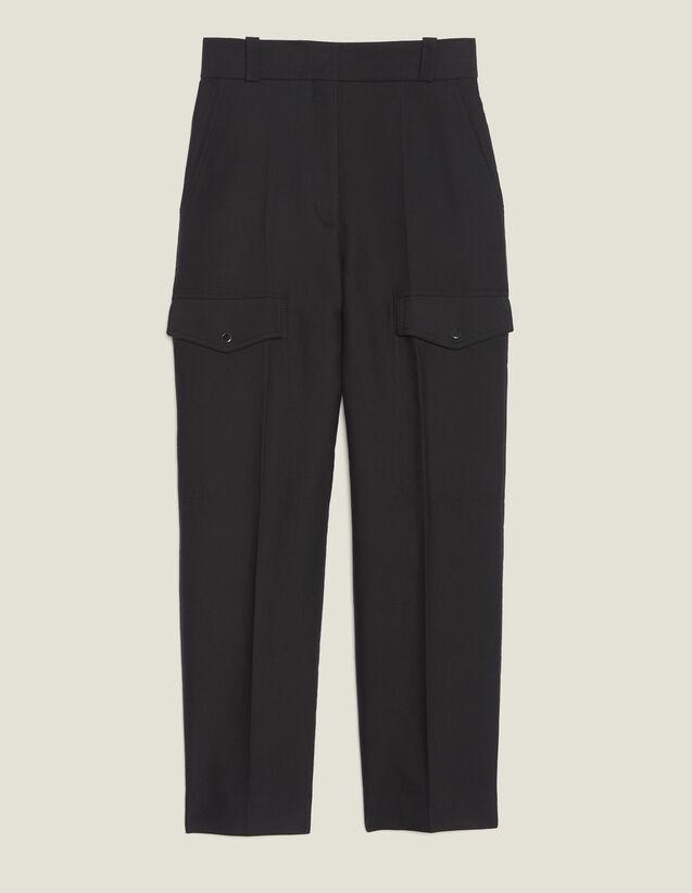 Pantalón Cargo : Pantalones color Negro
