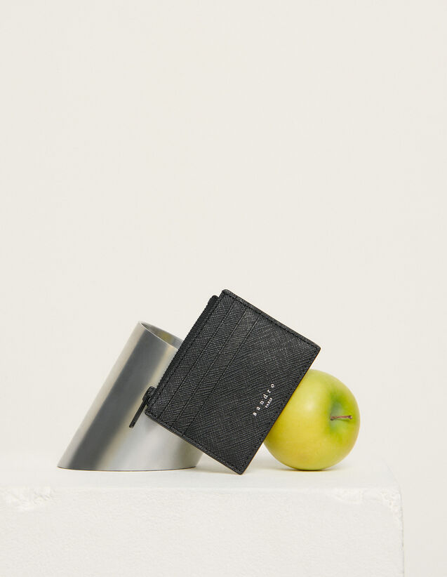Tarjetero con cremallera, piel saffiano : Tarjeteros & Carteras color Negro