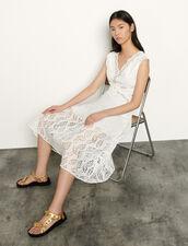 Vestido largo sin mangas bordado inglés : Vestidos color Blanco