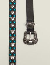 Cinturón Fino Con Hebilla Estilo Wéstern : null color Negro