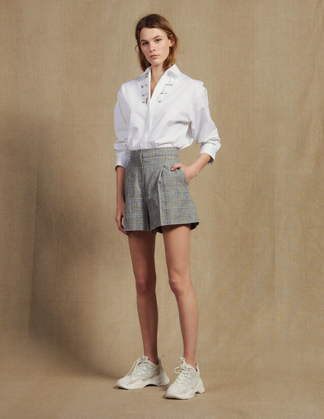 Short De Cuadros : Faldas & Shorts color Gris