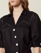 Vestido Corto Con Botonadura Asimétrica : Vestidos color Negro