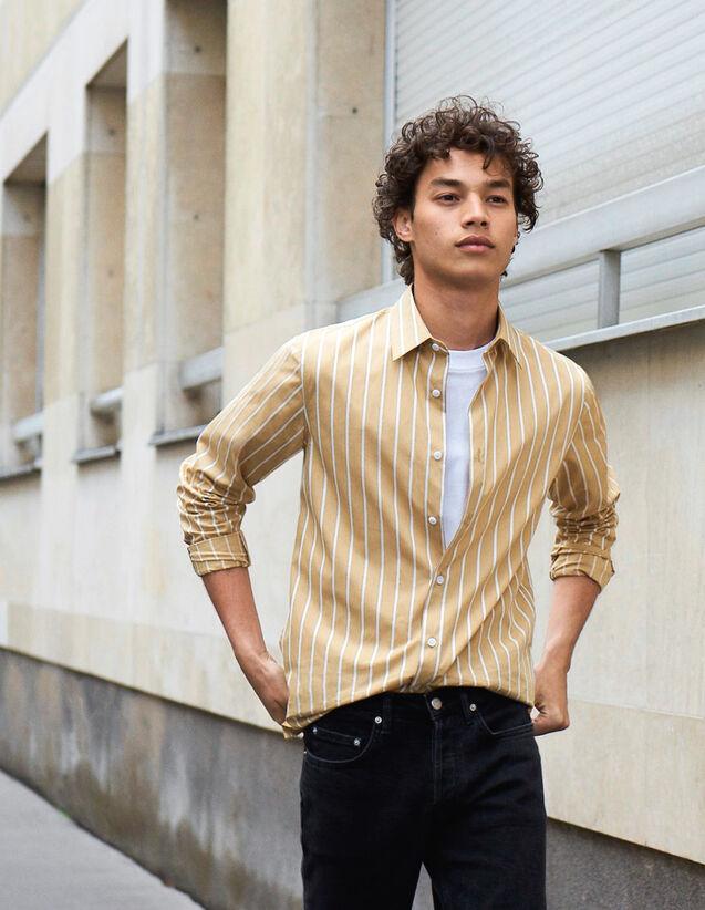 Camisa De Rayas De Algodón : Toda la colección de Invierno color Beige/blanc