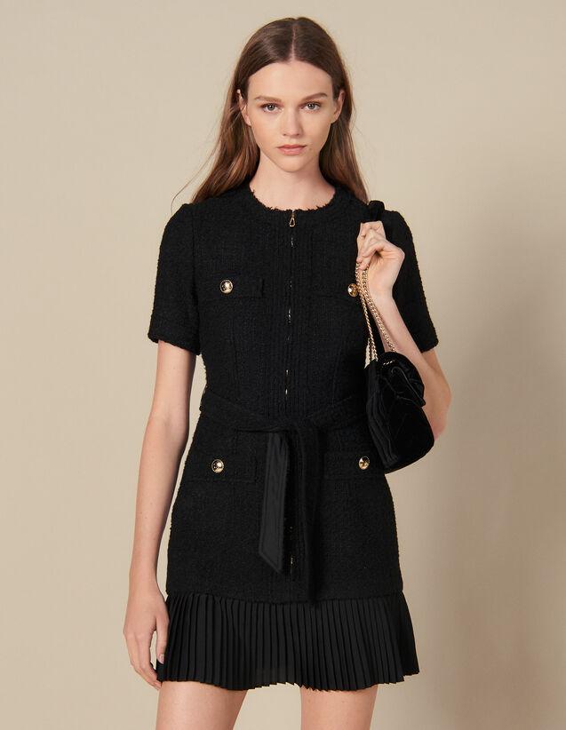 Vestido Corto, Bajo De La Falda Plisado : Vestidos color Negro
