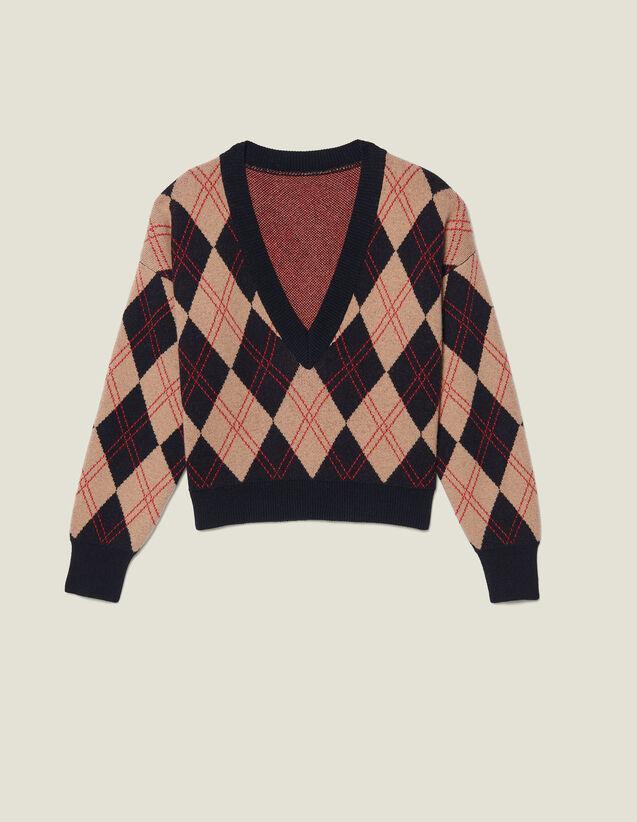 Jersey, cuello V, jacquard pespunteado : Jerseys & Cárdigans color Multicolor